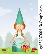 Leprechaun-Woman - Gnome With Mushrooms In The Forest