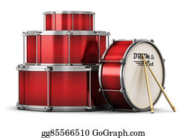 Drum-Set - Red Drum Set With Drumsticks