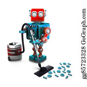 Hoover - Concept Of A Robot That Vacuums Digits On The Floor. 3d Illustration. Isolated. Contains Clipping Path