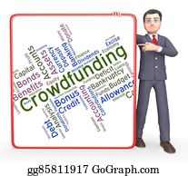 Fundraiser - Crowdfunding Word Shows Raising Funds And Crowd-Funding