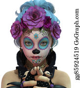 Mexican-Girl - Little Sugar Skull Girl, 3d Cg Ca