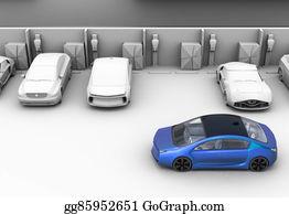 Car-Lot - Blue Car In Parking Lot