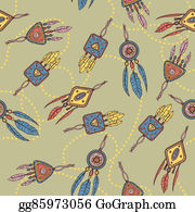 Dream-Catcher - Seamless Pattern With Dreamcatcher, Feathers And Beads.