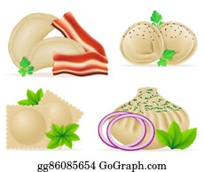 Dinner-Icons - Dumplings Of Dough With A Filling And Greens Set Icons Illustration