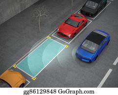 Car-Lot - Blue Car Driving Into Parking Lot