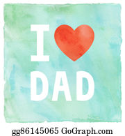 I-Love-You-Dad - I Love My Dad On Green And Blue Watercolor Background