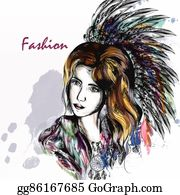 Dream-Catcher - Beautiful Dreamy Longhaired Girl Weared In Boho Style Clothers With Feathers And  Hand Drawn Dream Catcher In Engraved  Style