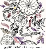 Dream-Catcher - Boho Seamless Vector Background With Hand Drawn Dream Catcher Birds And Feathers In Engraved Boho Style With Birdsand Butterflies
