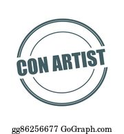 Con-Artist - Con Artist Grey Stamp Text On Circle On White Background