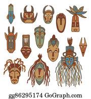 Tiki-Mask - Hand Drawn African Masks. Vector Se