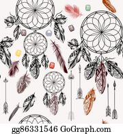Dream-Catcher - Vector Background With Hand Drawn Dream Catcher In Engraved Style