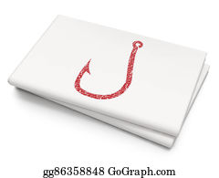 Fishhook - Protection Concept: Fishing Hook On Blank Newspaper Background