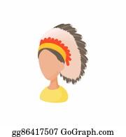Apache - American Indian Icon, Cartoon Style