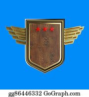 Military-Eagle-Emblem - Realistic Blank Shield With Three Stars And Stylized Wings, Hight Quality Rendering, Isolated.