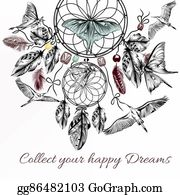 Dream-Catcher - Boho Vector Background With Hand Dr