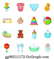 Safety-Pins-And-Diaper - Baby Icons Set, Cartoon Style