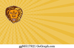 Growl - Business Card Angry Lion Big Cat Growling Head Retro