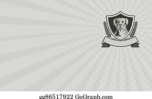 Rottweiler - Business Card Rottweiler Head Laurel Leaves Crest Black And White