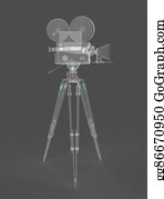 1960s - Vintage Retro Movie Camera Tripod Mount Isolated On White High Quality Rendering