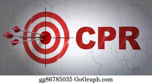 Cpr - Medicine Concept: Target And Cpr On Wall Background
