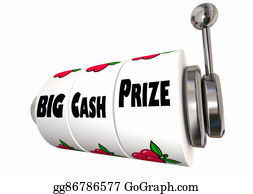 Cash-Prize - Big Cash Prize Lottery Jackpot Winnings Slot Machine 3d Illustration