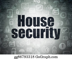 House-Alarm-Concept-Icon - Security Concept: House Security On Digital Data Paper Background