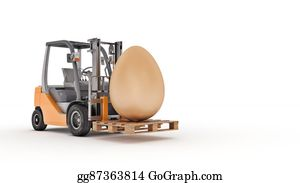 Food-Truck - Forklift Truck Carrying A Easter