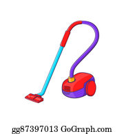 Hoover - Vacuum Cleaner Icon, Cartoon Style