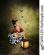 Girls-Night-Out - Little Girl And Butterflies
