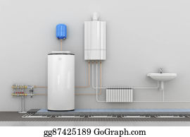 Conduction - Scheme Heating In Homes. 3d Illustration