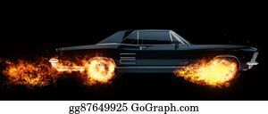 Muscle-Car - Classic American Muscle Car Wheels On Fire - 3d Illustration