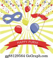 Purim - Purim Holiday Card Or Banner Design.