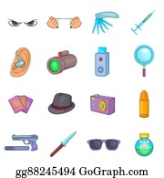 Private-Investigator - Spy And Security Icons Set, Cartoon Style