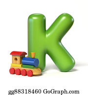 Funny-Toy-Train - Toy Font Letter K