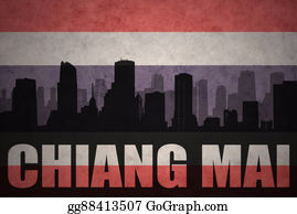 Mai - Abstract Silhouette Of The City With Text Chiang Mai At The Vintage Thailand Flag Background