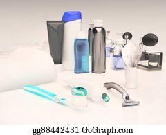 Toilet-And-Cleaning-Brush - Toothpaste, Brush, Soap, Balm, Razor, Shaving Brush, Towel, Shampoo,perfume, Mirror.