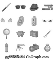 Private-Investigator - Spy And Security Icons Set, Black Monochrome Style