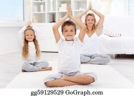 Happy balanced life - people doing yoga exercise