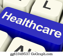 Healthcare Key In Blue Showing Online Health Care