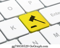 Law concept: Gavel on computer keyboard background