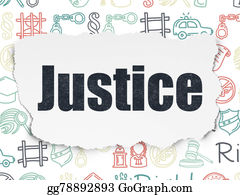 Law concept: Justice on Torn Paper background