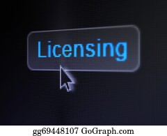 Law concept: Licensing on digital button background