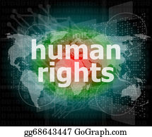 Law concept: words human rights on digital background