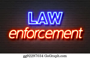 Law enforcement neon sign on brick wall background.