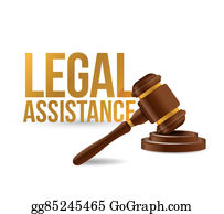 Legal assistance law hammer sign concept