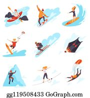 People performing different types of extreme sports vector illustration.