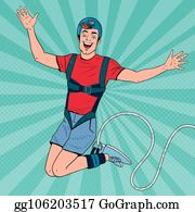 Pop Art Excited Man Jumping Bungee. Extreme Sports. Happy Guy Ropejumping. Vector illustration