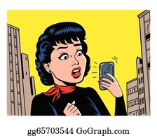 Retro Woman With Phone