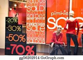 Shop Window With Sale Banners