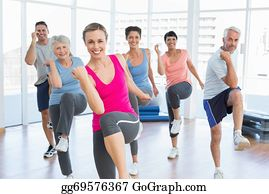 Smiling people doing power fitness exercise at yoga class